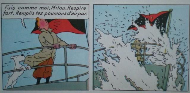 Tintin et Milou Embruns au bastingage