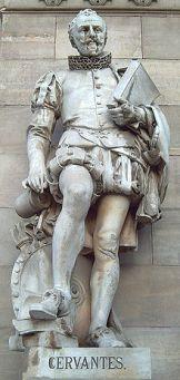 Cervantes à l'entrée de la bibliothèque nationale de Madrid